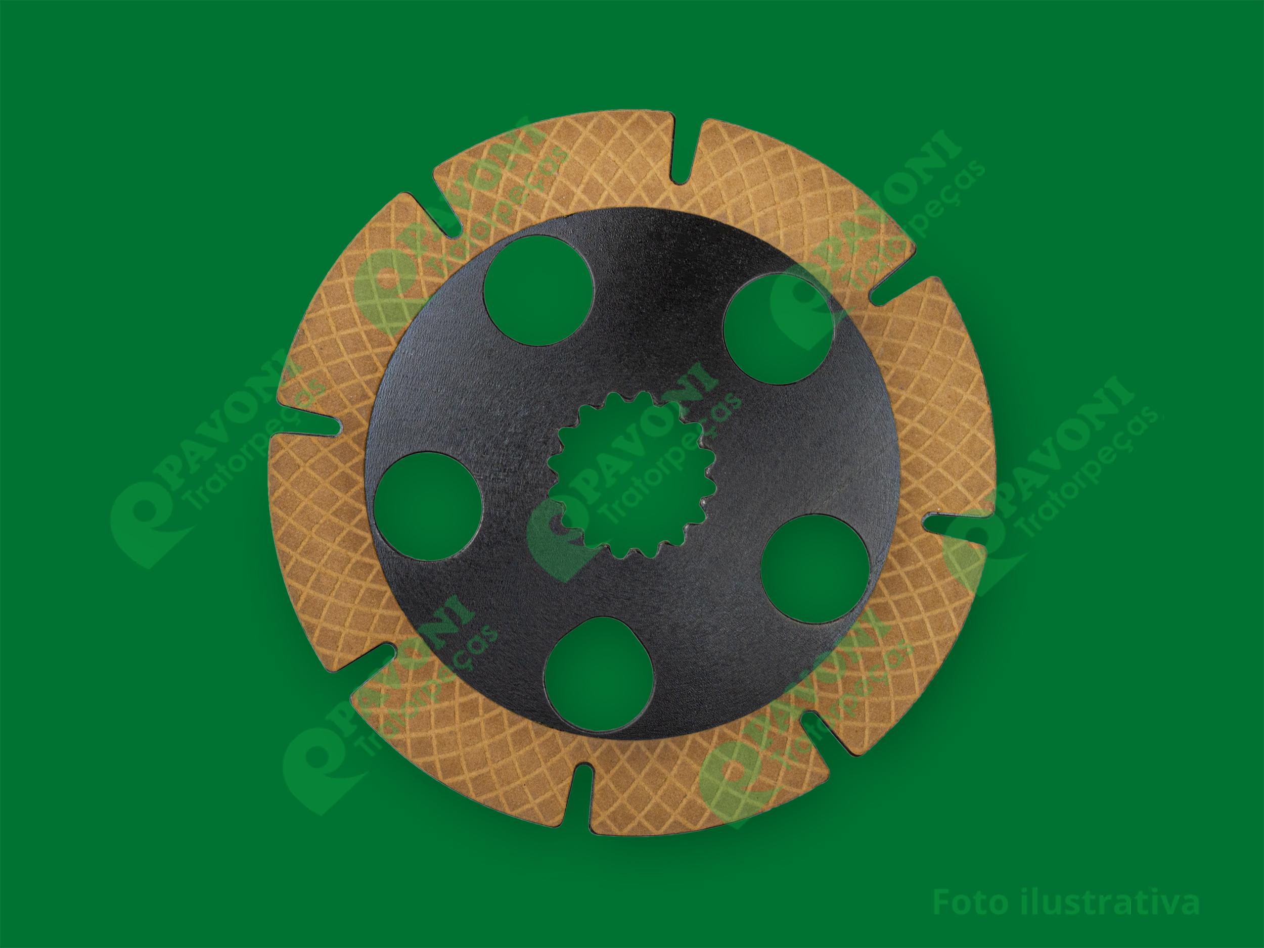 Disco de freio em paper utilizado em equipamentos com transmissão DANA, montadoras CASE, NEW HOLLAND e HYUNDY.  Diametro externo 200mm Garantia de 3 meses contra defeito de fabricação Preço unitário, quantidade utilizada por máquina: 8 peças